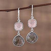 Labradorite and rose quartz dangle earrings, 'Rosy Dusk' - Labradorite and Rose Quartz Silver Dangle Earrings