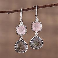 Labradorite and rose quartz dangle earrings, 'Rosy Dusk' - Labradorite and Rose Quartz Silver Dangle Earrings