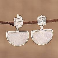 Rose quartz dangle earrings, 'Blushing Goddess' - Handcrafted Rose Quartz and Sterling Silver Dangle Earrings