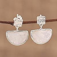 Rose quartz dangle earrings, 'Blushing Goddess' - Handcrafted Rose Quartz and Sterling Silver Dangle Earrings