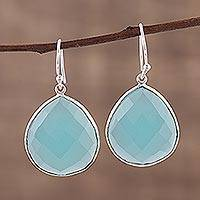 Chalcedony dangle earrings, 'Envious Sky' - Aqua Blue Chalcedony and Sterling Silver Earrings