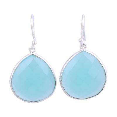 Chalcedony dangle earrings, 'Envious Sky' - Aqua Blue Chalcedony and Sterling Silver Earrings