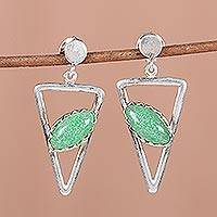Aventurine dangle earrings, 'Triangulation in Green' - Aventurine and Sterling Silver Post Dangle Earrings