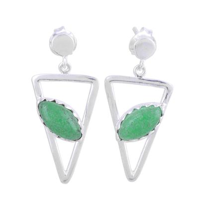 Aventurine dangle earrings, 'Triangulation in Green' - Aventurine and Sterling Silver Post Dangle Earrings