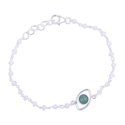 Aventurine and rainbow moonstone pendant bracelet, 'All Eyes on You' - Aventurine and Rainbow Moonstone Silver Link Bracelet
