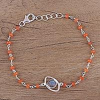 Labradorite and carnelian pendant bracelet, 'All Eyes on You' - Sterling Silver Bracelet with Labradorite and Carnelian
