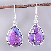 Sterling silver dangle earrings, 'Purple Obsession' - Purple Composite Turquoise Teardrop Shaped Earrings