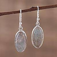 Labradorite dangle earrings, 'Mystical Ways' - Labradorite Cabochon Dangle Earrings from India