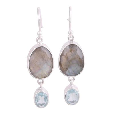 Labradorite and blue topaz dangle earrings, 'Misty Muse' - Labradorite and Blue Topaz Dangle Earrings