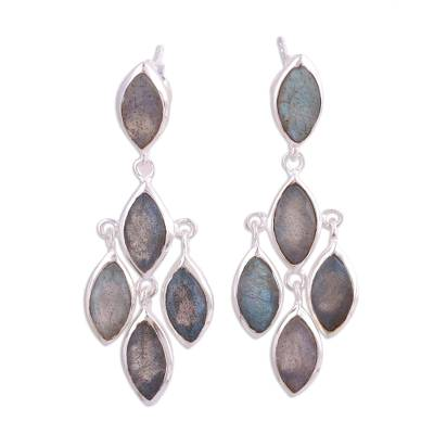 Labradorite chandelier earrings, 'Misty Marquise' - Stunning Ten Carat Labradorite Chandelier Earrings