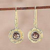 Gold plated smoky quartz dangle earring, 'Smoky Charm'