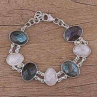 Rainbow moonstone and labradorite link bracelet,