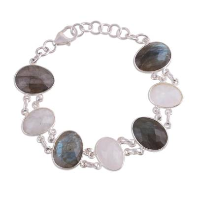 Link Bracelet with Rainbow Moonstone and Labradorite