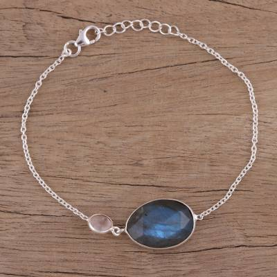 Labradorite and rose quartz pendant bracelet, 'Mist and Mystery' - Sterling Silver Labradorite and Rose Quartz Pendant Bracelet