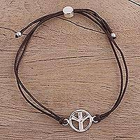 Sterling silver pendant bracelet, 'Peaceful Gleam in Brown' - Sterling Silver Peace Pendant Bracelet in Brown from India