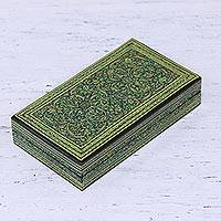 Wood decorative box, 'Kashmir Garden' - Hand Painted Wood and Papier Mache Decorative Box