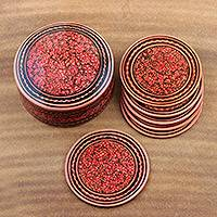 Wood coaster set, 'Kashmiri Flavor' (set of 6) - Boxed Coaster Set Hand Painted with Floral Motifs (Set of 6)