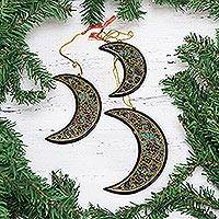 Wood ornaments, 'Christmas Night' (set of 3) - Set of 3 Hand Painted Wood Crescent Moon Ornaments