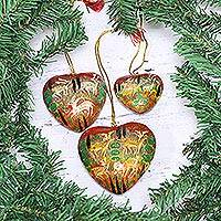 Papier mache ornaments, 'Jungle Christmas' (set of 3) - Heart Shaped Ornaments with Jungle Motifs (Set of 3)