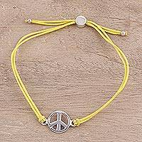 Sterling silver pendant bracelet, 'Peaceful Gleam in Yellow' - Adjustable Sterling Silver Peace Pendant Bracelet from India