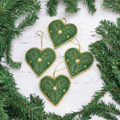 Embroidered velvet ornaments, 'Green Hearts' (set of 4) - Four Heart-Shaped Beaded Ornaments in Green from India