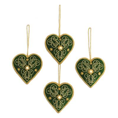 four heart shaped beaded ornaments in green from india green
