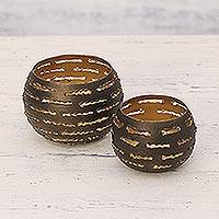 Steel tealight holders, 'Slatted Glow' (pair) - Pair of Handcrafted Steel Tealight Holders from India