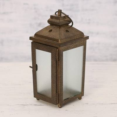 Steel tealight lantern, 'Traveler's Light' - Handcrafted Steel and Glass Lantern from India
