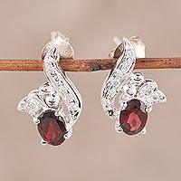 Garnet drop earrings, 'Sparkle Swirls' - Garnet CZ and Sterling Silver Drop Earrings from India