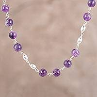 Amethyst link necklace, 'Elegant Orbs' - Amethyst and Sterling Silver Link Necklace from India
