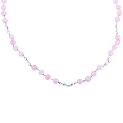 Rose quartz link necklace, 'Elegant Orbs' - Rose Quartz and Sterling Silver Link Necklace from India