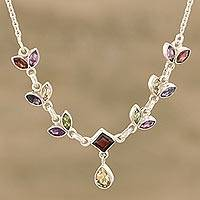 Multi-gemstone pendant necklace, 'Sparkling Leaves' - Garnet Amethyst Iolite Peridot and Citrine Leaves Necklace