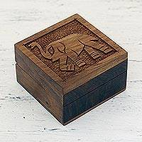 Wood decorative box, 'Elephant Strut' - Elephant-Themed Acacia Wood Decorative Box from India