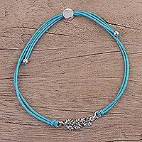 Sterling silver pendant bracelet, 'Aqua Leaves in Winter' - Aqua Cord Bracelet with a Sterling Silver Leaf Pendant