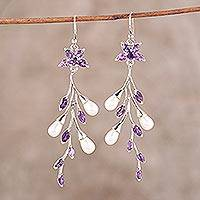 Amethyst and cultured pearl dangle earrings, 'Lilac Branch' - Amethyst and Cultured Pearl Dangle Earrings from India