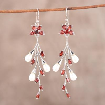 Garnet and cultured pearl dangle earrings, Red Branch