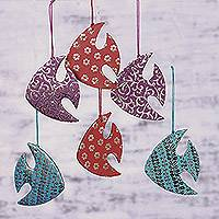 Ornaments, 'Dancing Fish' (set of 6) - Set of Six Colorful Fish-Shaped Ornaments from india
