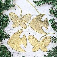 Ornaments, 'Golden Wildlife' (set of 4) - Four Gold-Tone Fish and Butterfly Ornaments from India