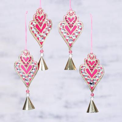 Brass ornaments, 'Glittering Hearts' (set of 4) - Set of Four Glass Beaded Brass Ornaments from India