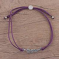 Sterling silver pendant bracelet, 'Purple Leaves in Winter' - Purple Cord Bracelet with Sterling Silver Leaves from India