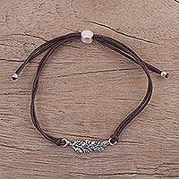 Sterling silver pendant bracelet, 'Brown Leaves in Winter' - Brown Cotton Cord Bracelet with Sterling Silver Leaves