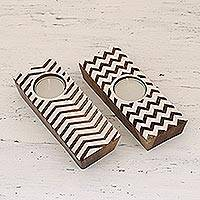 Wood tealight holders, 'Zigzag Flair' (pair) - Hand Carved Wooden Tealight Candle Holders (Pair)