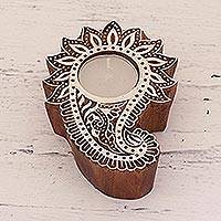 Wood tealight holder, 'Paisley Allure' - Wood Paisley Shaped Tealight Candle Holder