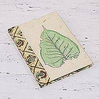 Handmade paper journal, 'Floating Leaf' - Handcrafted Leaf-Themed Paper Journal from India