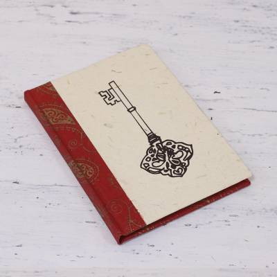Handmade paper journal, 'Key to My Heart' - Handcrafted Key Design Paper Journal from India