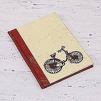 Handmade paper journal, 'Bicycle Trip' - Handcrafted Bicycle Design Paper Journal from India