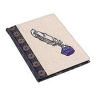 Handmade paper journal, 'Antique Letter' - Handcrafted Inkwell Design Paper Journal from India