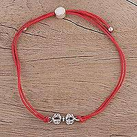 Sterling silver pendant bracelet, 'Vajra in Red' - Modern Red Cotton and Sterling Silver Handcrafted Bracelet