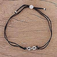 Sterling silver pendant bracelet, 'Vajra in Black' - Fair Trade Bracelet in Black Cotton with Sterling Silver