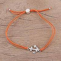 Sterling silver pendant bracelet, 'Anchor of Hope in Tangerine' - Nautical Theme Silver Anchor Pendant Bracelet